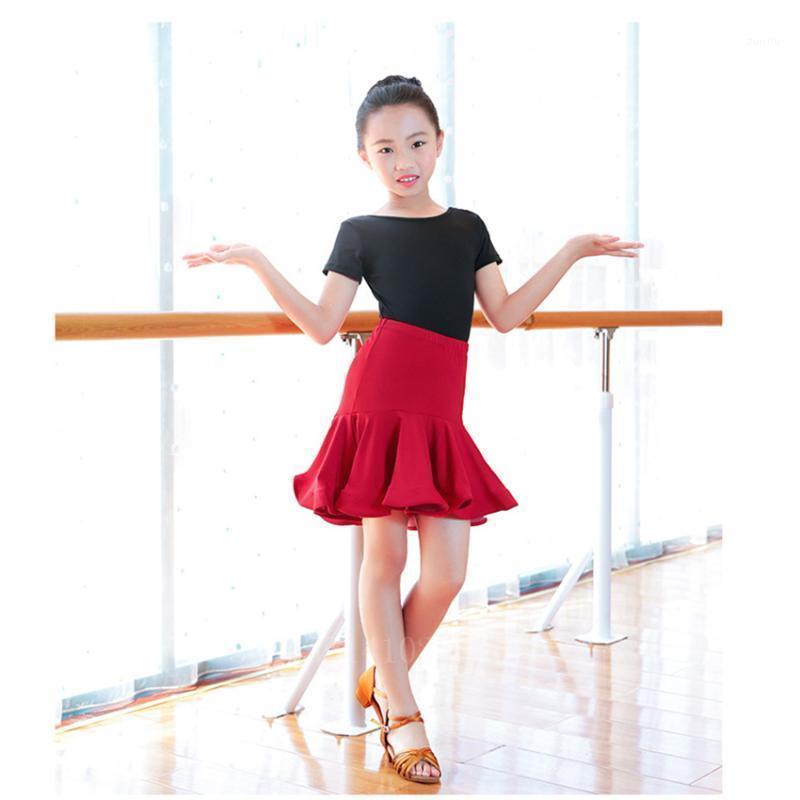 Sahne Giyim 2 Adet Kızlar Latin Yarışmalar Uygulama Dans Elbise Çocuk Leotard Etek Balo Salonu Tango Salsa Püskül Performans Giyim Seti1