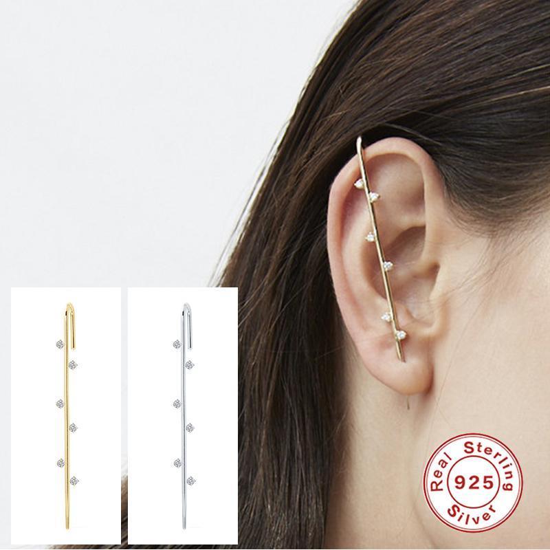 GS 925 Ayar Gümüş Saplama Küpe Kulak İğne Paletli Kanca Küpe Kadınlar Surround Auricle Çapraz Saplama Zirkon Piercing