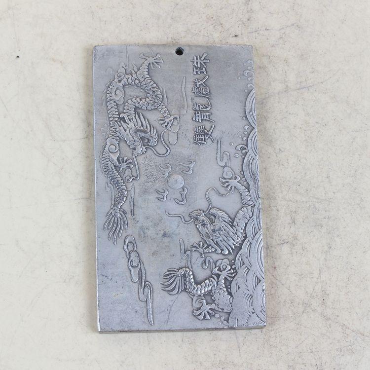 Coleção antiga chinesa mão esculpida prata dragão padrão statue xj162