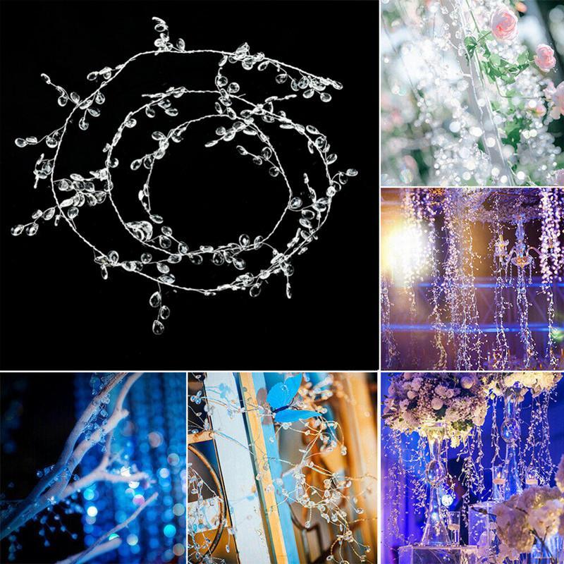 30-150cm Claro Acrílico Acrílico Cortina de Cortina de Garland Gota de Água Diamante Ramo de Diamante DIY CRAFT para decoração de festa de casamento suprimentos