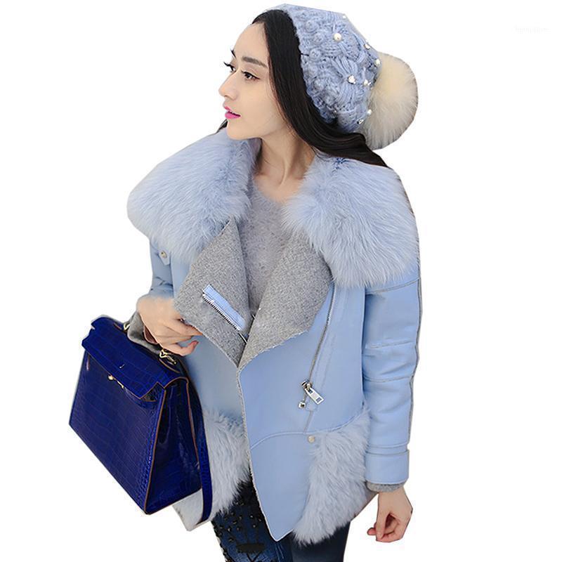 Hiver Automne Faux Fur Fourrure Manteau Mesdames Légère Bleu High Collier Artificielle Fourrure Manteaux Femmes Lâche Vestes courtes Femme Collier1
