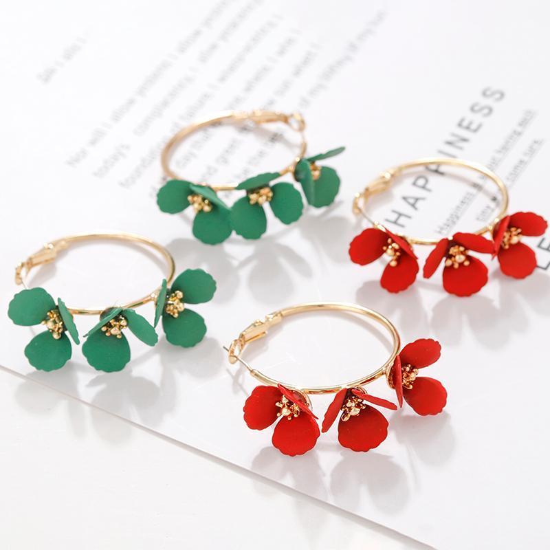 AMORCOME Elegant Enamel Green Red Flower Hoop Earrings For Women Geometric Circle Earrings 2020 Boucle d'oreille Jewelry Gifts