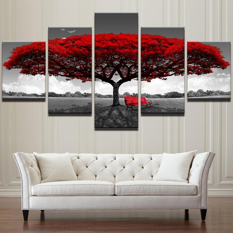 HD Baskılı Modern Oturma Odası Çerçeve Modüler 5 Panel Kırmızı Ağacı Manzara Boyama Duvar Sanatı Poster Ev Dekorasyon Tuval Resimleri