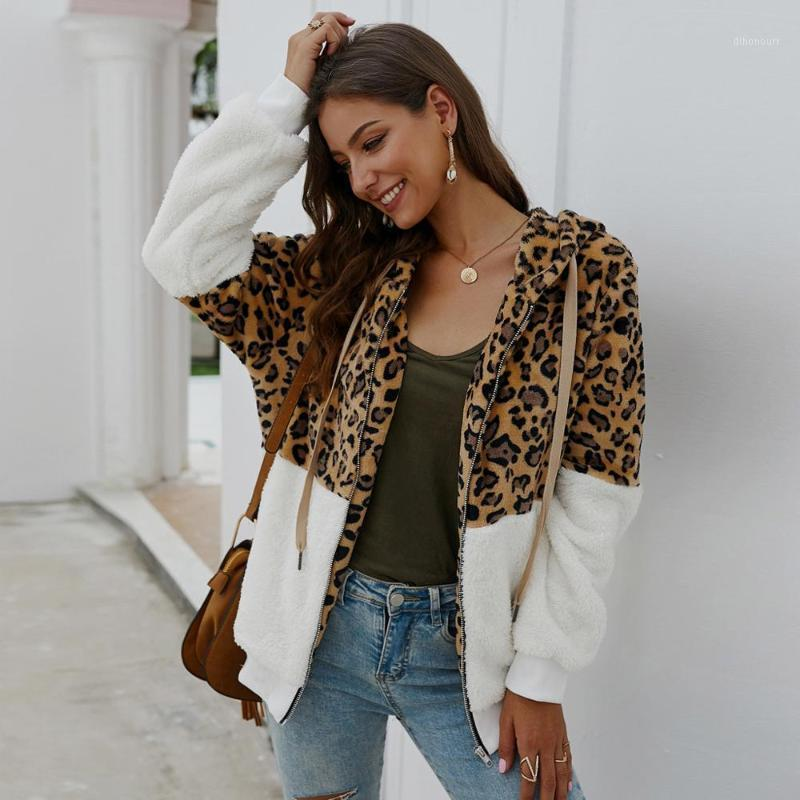 Damenjacken Frauen Wintermantel Mode Leoparden-Druck Patchwork Fleece Lange Ärmel Strickjacke Halten Sie Warme Chamarra Mujer W # 1
