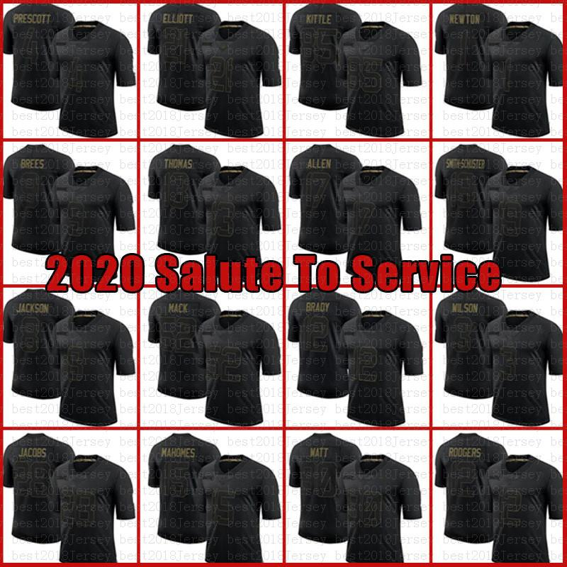 Black 2020 Saudação para Serviço Patrick Mahomes 12 Tom Brady Josh Josh Jacobs Allen Jersey Cam Newton Russell Wilson Stefon Diggs Tre'Davious White