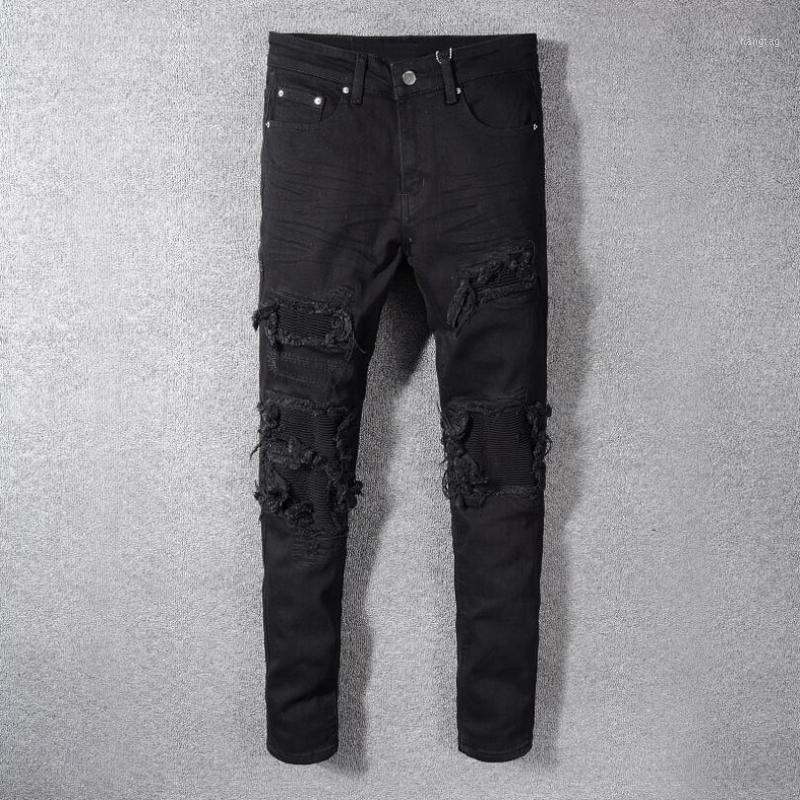 Pantalones vaqueros para hombre Hombres cubiertos Retped Skinny Biker Agujeros Sólidos Negro Destruido Straight Straight Pantalones Slim Fit Denim Rasguados Monos Jean1