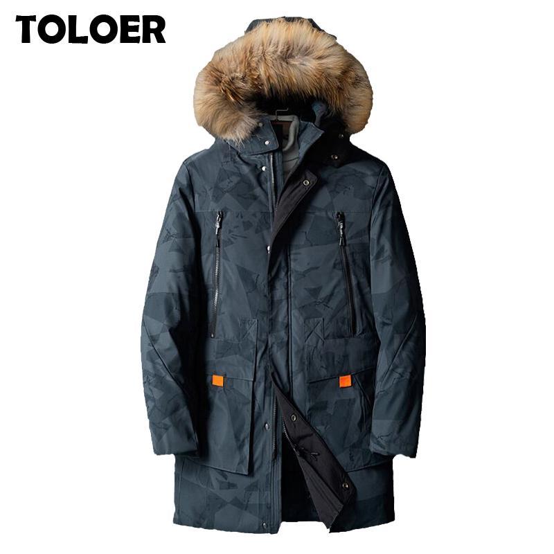 Пальто толщиной 2020 повседневная длинная зимняя куртка Parkas мужская новая из искусственного меха воротника с капюшоном кармана на капюшонах