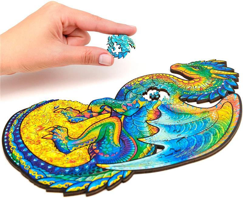 Оптово-деревянная головоломка головоломки, лучший подарок для взрослых и детей, уникальные формы головоломки, охраняющие дракон, 10,6 х 17,3 дюйма, 330 штук