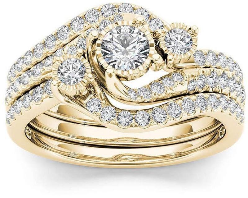 Heißer Verkauf paar Ringe vergoldet eingelegt Zirkon Ring Klassische Schmuck Ring Modeschmuckversorgung Großhandel