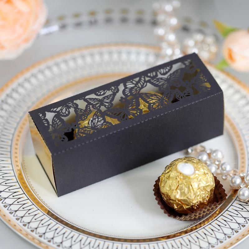 20 قطع الحلوى مربع الجوف خارج فراشة الزفاف الحلوى مربع الهدايا لصالح diy الحدث حزب اللوازم