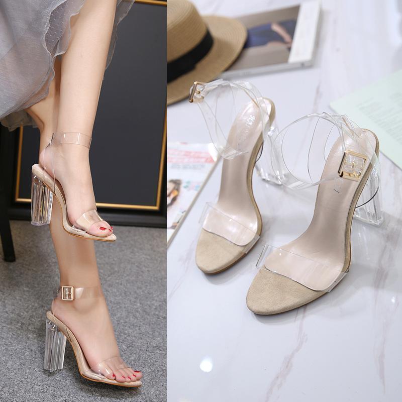 Vestido zapatos clásicos moda verano claro talones sandalias casual hebilla correa mujer tobillo frente trasero trasero