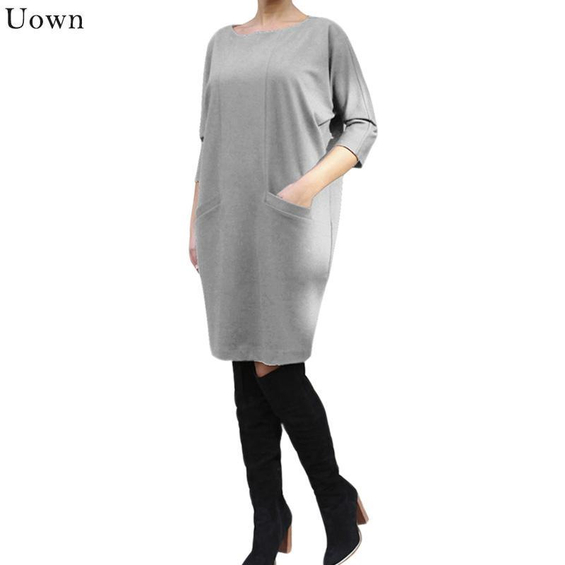 Doyerl Kazak Elbise Vestidos 2020 Sonbahar Kadın Rahat O-Boyun Diz Boyu Cepler Boy Boyutu Gevşek Örme Elbise Artı Boyutu S-3XL