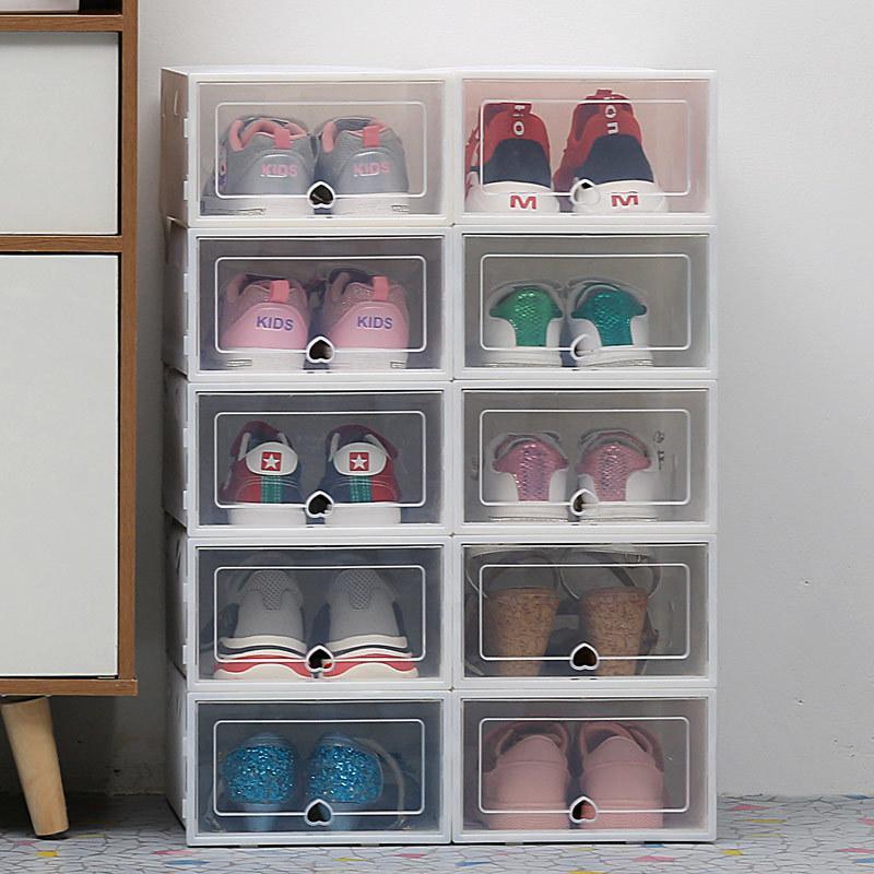 Las cajas de almacenamiento transparentes 6pc engrosaron las zapatas a prueba de polvo, la caja Organizador puede ser un gabinete de zapatos de combinación superpuesta Q1130