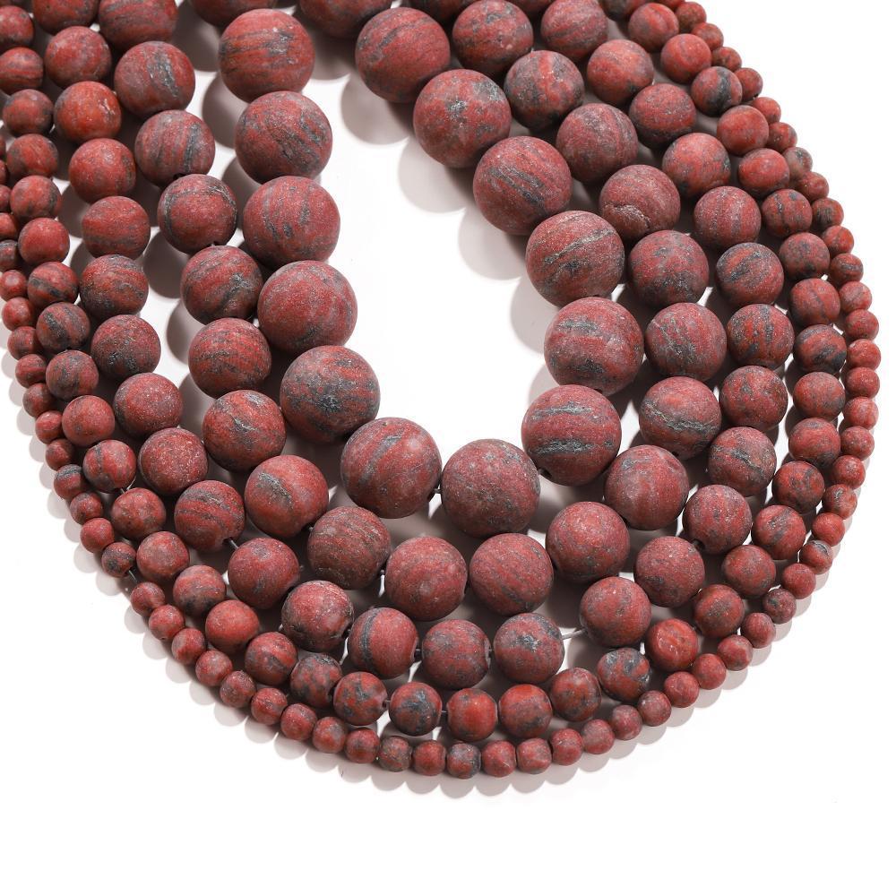 1trand lot pierre naturelle Polonais terne Mat Sesame Sesame rouge Brecciated Jaspers Bead rond Ensemble d'entretoise lâche pour bijoux bricolage fabrication H WMTRXR