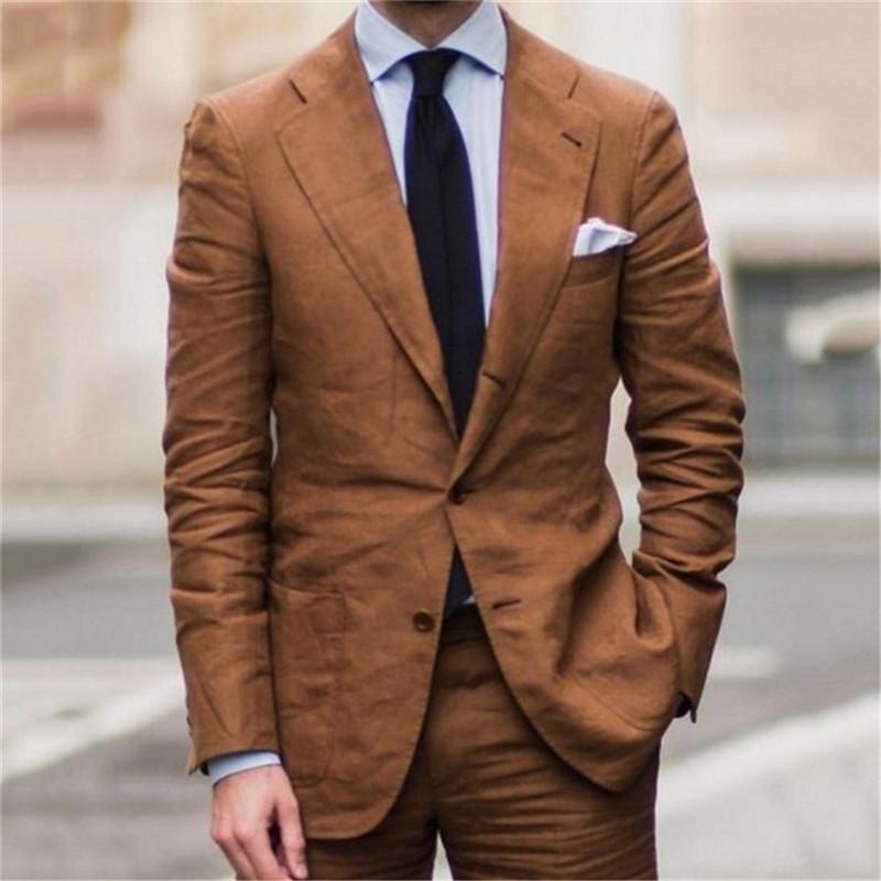 Costumes pour hommes Blazers Pantalon de qualité Designs Marron Casual 2021 (Jackt and Pants) Mariage de plage pour hommes 2 pièces Ternos Costume avec pantalon