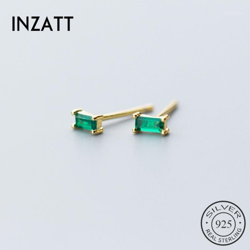 INZAMinimalist Geometric Square Green Zircon Stud Earrings Charm 925 Sterling Silver Gold Color For Women Fine Jewelry GIft1