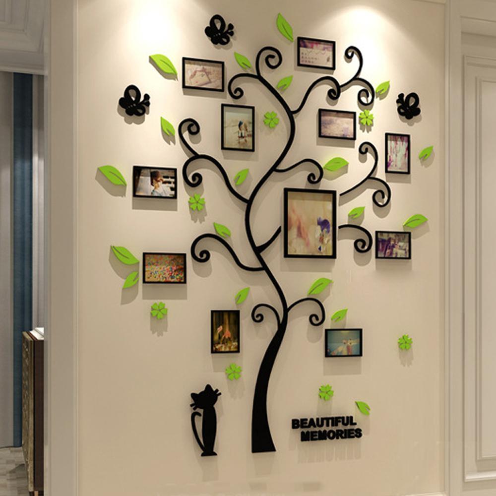 الاكريليك 3d الأسرة إطار الصورة شجرة ملصقات الحائط للإزالة diy الفن الجدار ملصق الشارات لغرفة المعيشة الديكور المنزل T200111