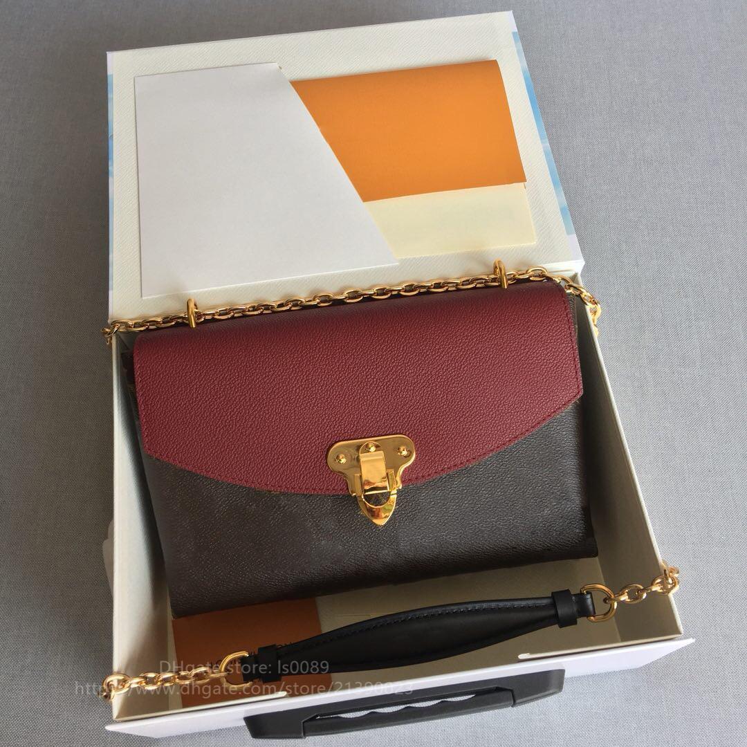 Moda Sıcak Satış Yüksek Kalite Hakiki Deri Lüks Mektup Omuz Çantası Lady Messenger Çanta Zincir Cüzdan 25..17..7cm Ücretsiz Kargo