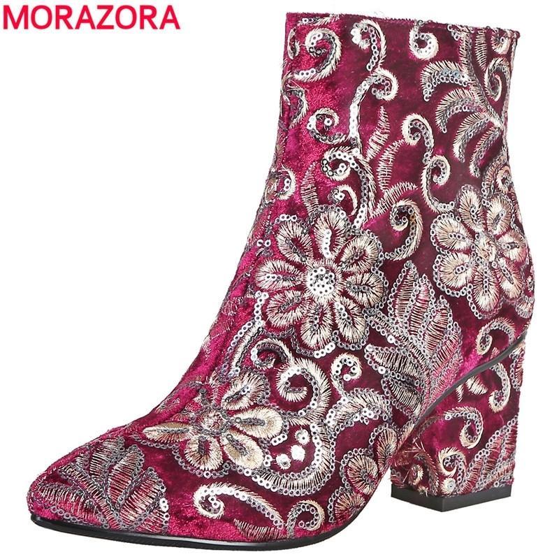 Morazora di alta qualità ricamato da donna stivali da donna spessa tacchi alti autunno stivali invernali moda calzature da donna scarpe da donna stivaletti T200425