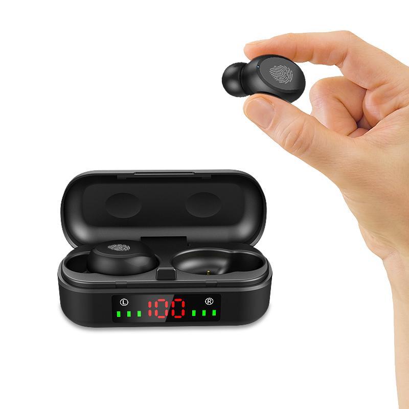 무선 블루투스 이어 버드 5.0 TWS V8 터치 컨트롤 방수 헤드폰 소음 제거 무선 이어 버드 LED 디스플레이 스포츠 헤드셋