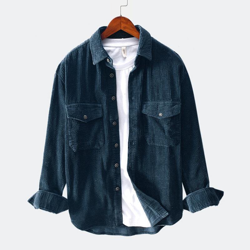 Свободная ведуроя рубашка высокого качества мужская длинная рукава осень зима повседневная верхняя блузка рубашка улица с двумя нагрудными карманами1