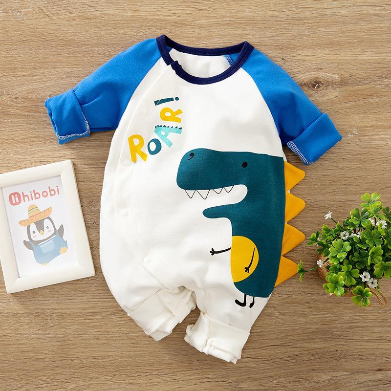 Recién nacido bebé ropa de dibujos animados dinosaurio traje recién nacido niña mameluco onesie niño niño 0 3 6 9 12 meses mono pijama c0126