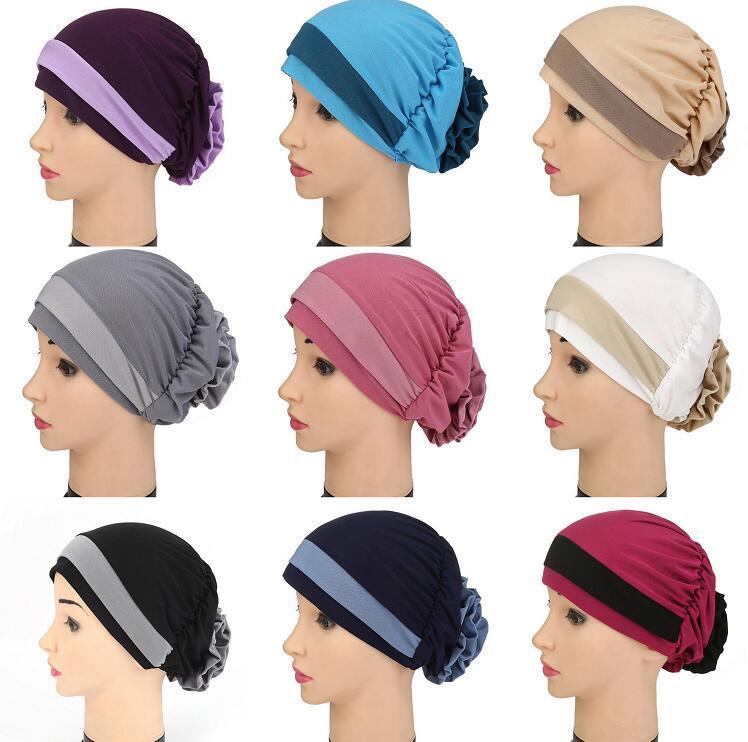 2021 Damen Reine Farbe Blumen Krebs Hut Chemo Zwei Farbkappe Womens Muslimische Haarausfall Turban Kopf Wrap Deckel Verstellbare Hüte