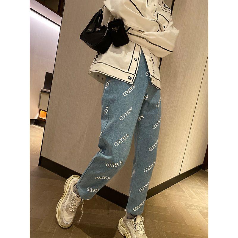 Xoxoogodboy nova letra coreana cintura alta impressa jeans em queda 2020