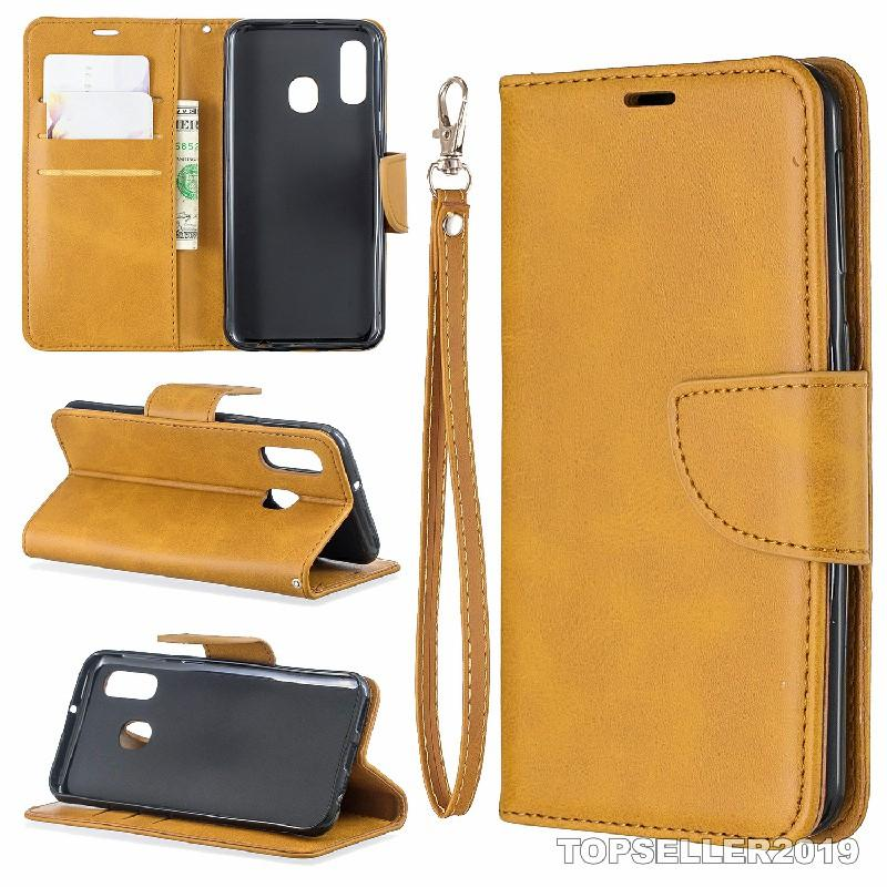 Pour Samsung A40 Pure Color Color Sheep Moo En Cuir Coffre Coque Coque Coque Stand Style Card Cash Portefeuille Design B179