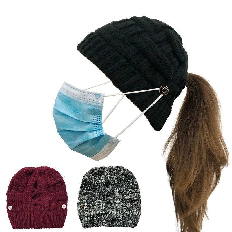 Bonnet Crochet Bonnet avec bouton Masque Visage Fille Femmes Hommes Hiver chaud Mode Ponytail Grille entrecroisée évider Casque Sport Couvre-chef