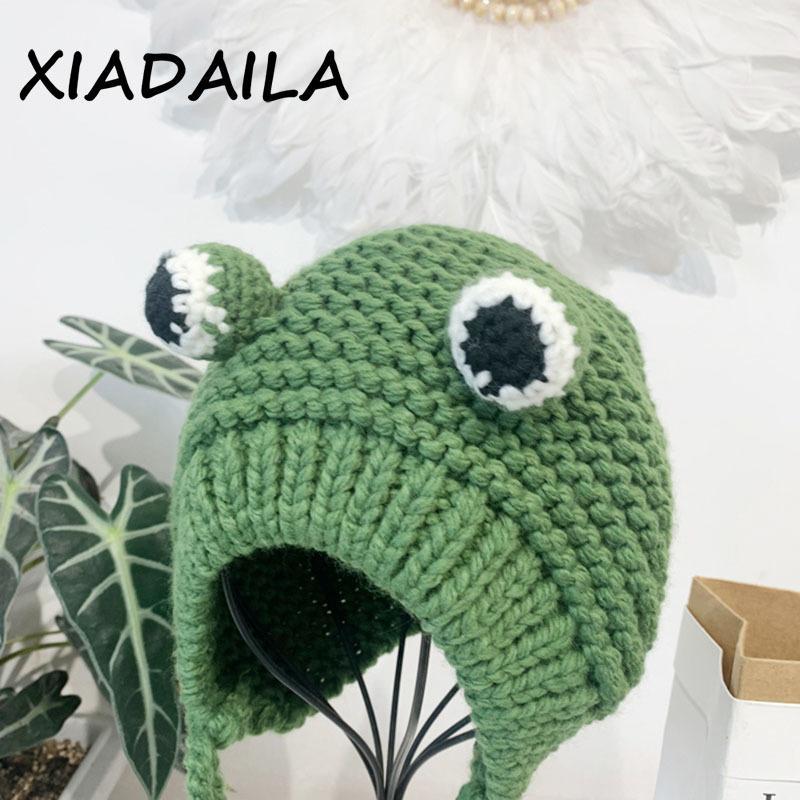2020 chapéus femininos inverno com pompon cute sapo chapéu crochet grande malha para meninas fantasia beanie natal boné de moda