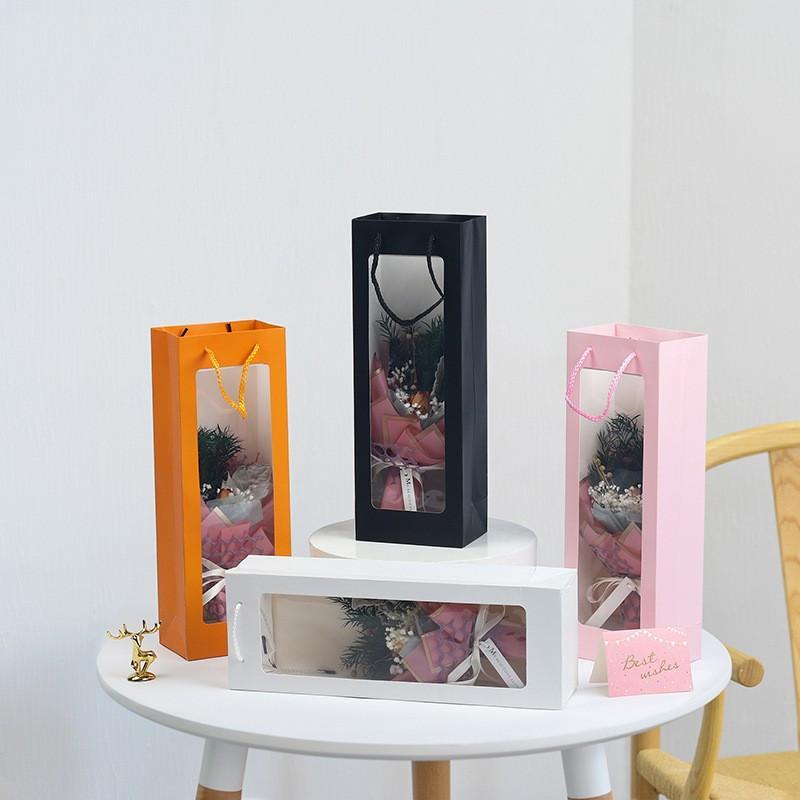 Kraftpapier Wein Packing Taschen Klar Fenster Champange Blume Geschenk Solid Papier Geschenk Backgeburtstag Festival Geschenk Verpackungskoffer FWD3140