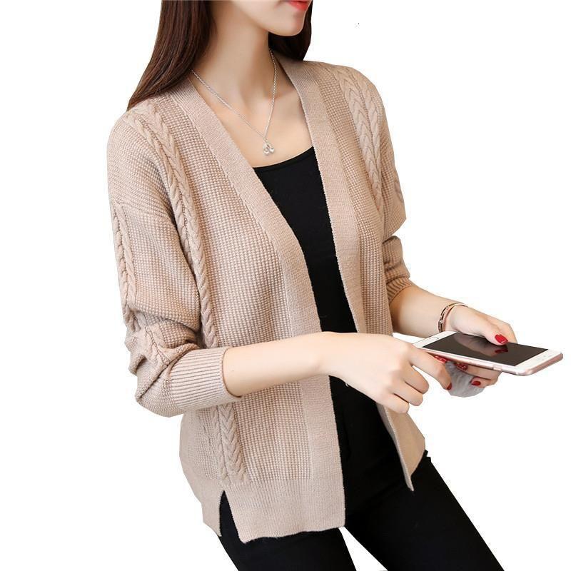 2021 Yeni Kadın Kazak Hırka Moda Sonbahar Kış Eşarp Yaka Büküm Hem Bölünmüş Örme Hırka Jumper Kalın Kadın Kazak