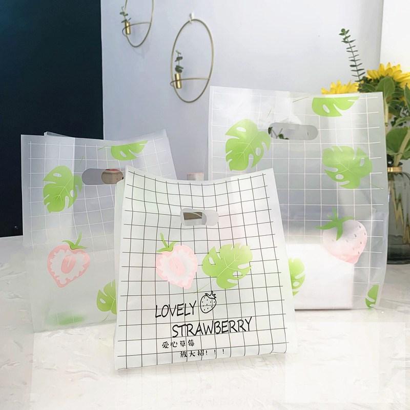 50 pz sacchetti di plastica sacchetti di plastica della fragola del negozio di abbigliamento dei borse della spesa del negozio di natale della partita di nautico di natale Borsa per imballaggio della caramella