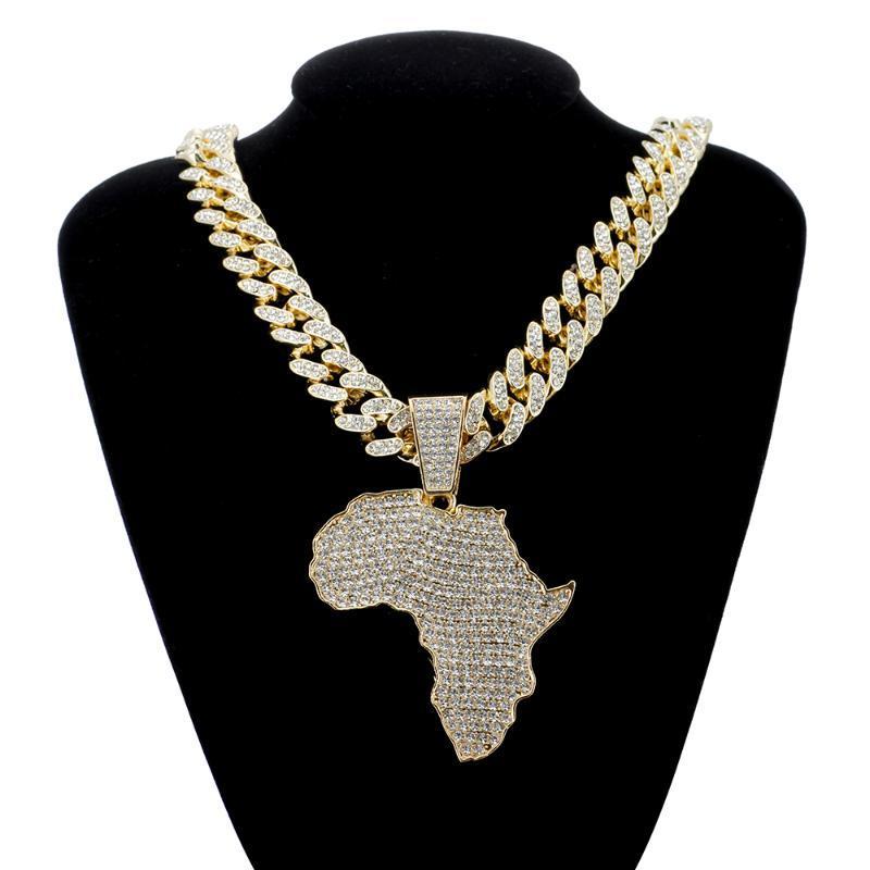Мода Кристалл Африка Карта Ожерелье Для Женщин Мужские Хип-Хопные Аксессуары Ювелирные Изделия Ожерелье Choker Cuban Link Цепи Подарок
