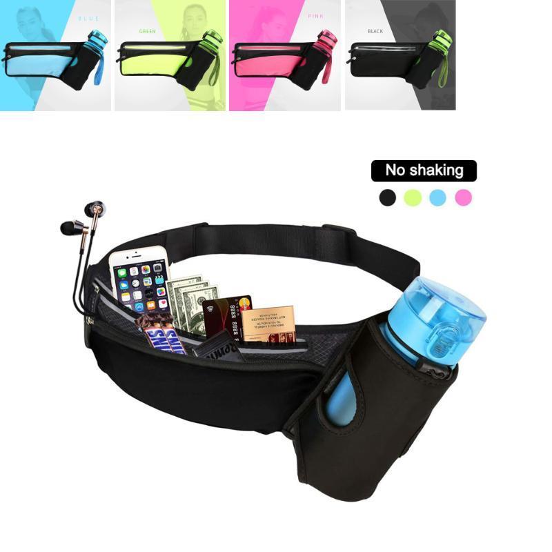 Bolsa de cintura deportiva a prueba de agua al aire libre con cinturón ajustable corriendo Bolsas portátiles portátiles con el titular de la botella de agua