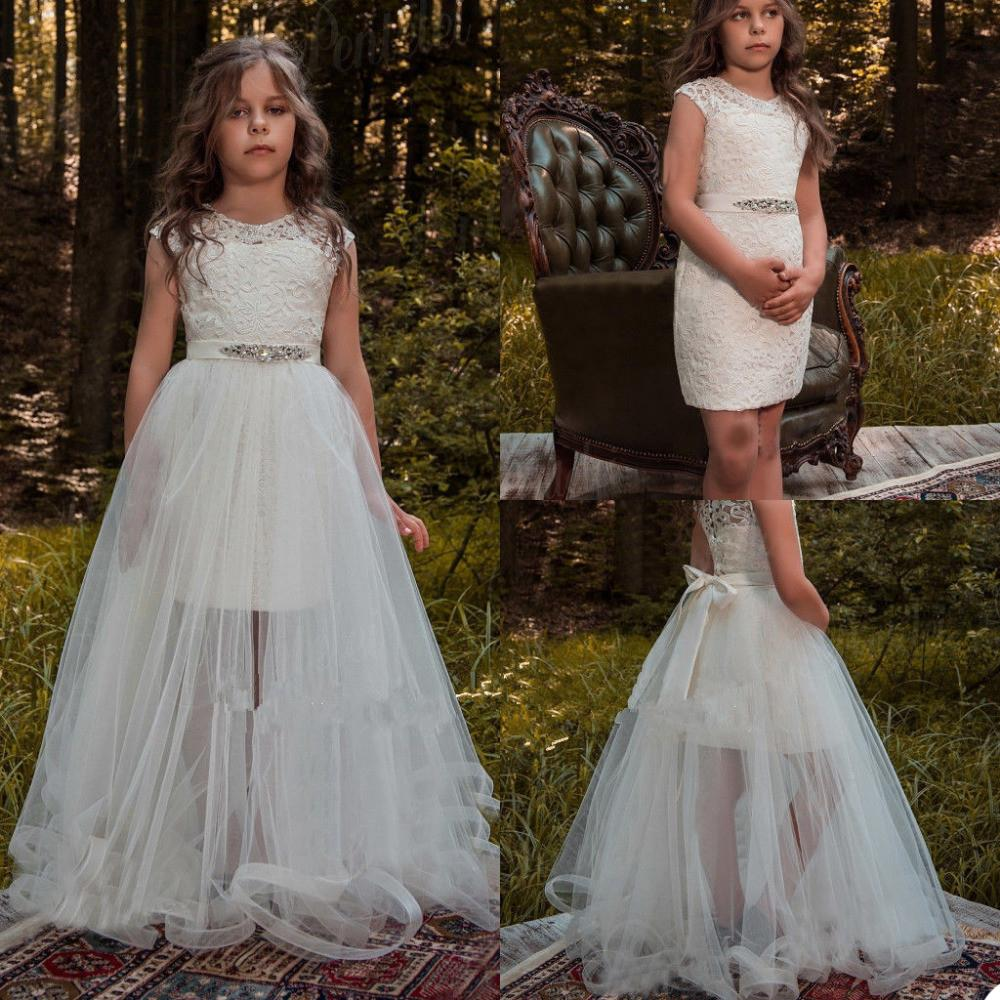 Lusso Flower Girls Abiti gioiello Appliques Lace bambini Abiti formali su ordine posteriore del tasto di compleanno del bambino Pageant abiti 2021 Fashion