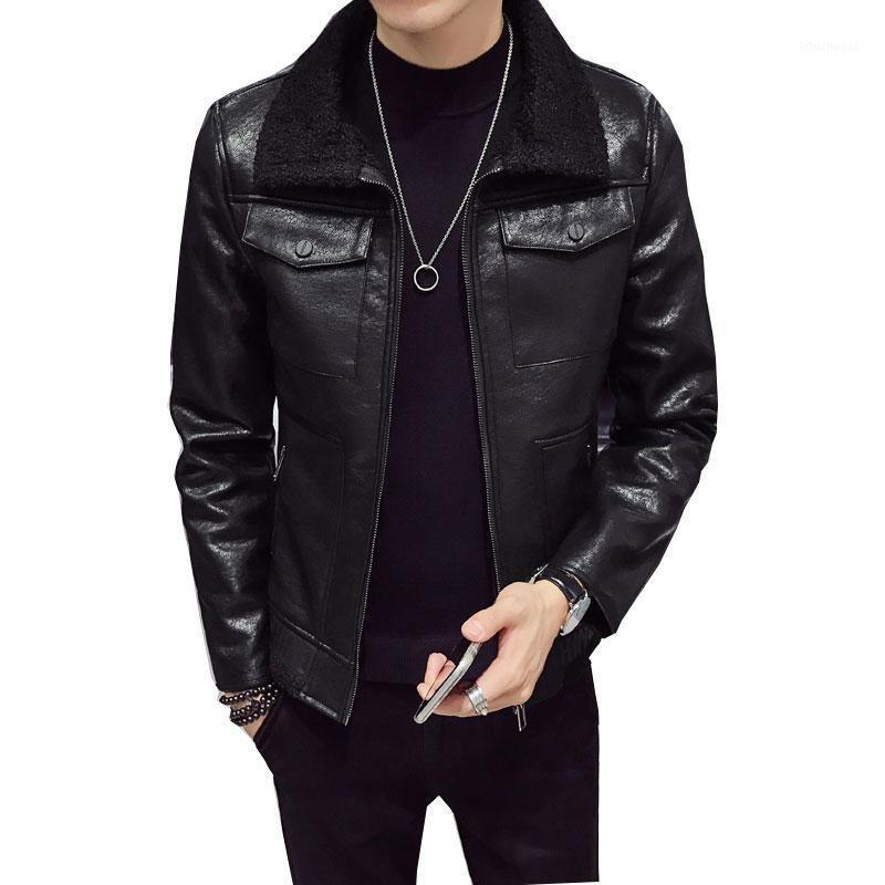 Мужская меховая искусственная зимняя пиджака воротник длинный раздел Мужчины пальто мужская деловая повседневная кожаная куртка флис теплый густой пальто M-XXXL1