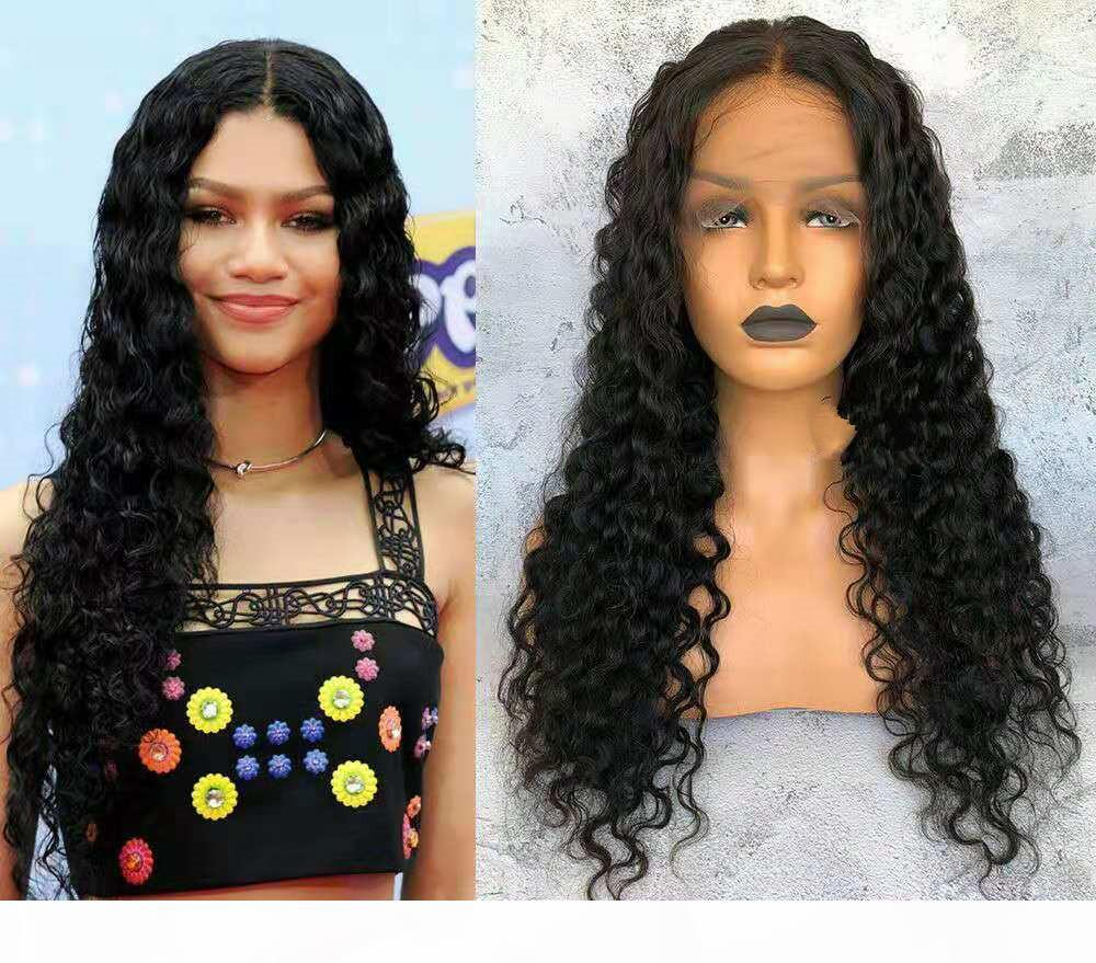 "Sin glúneles 360 encaje Peluca frontal Pre inclinada con pelo Baby Hair Brasileño Kinky Rizado 20 ""Pelucas de pelo humano delanteras de encaje para mujeres negras"