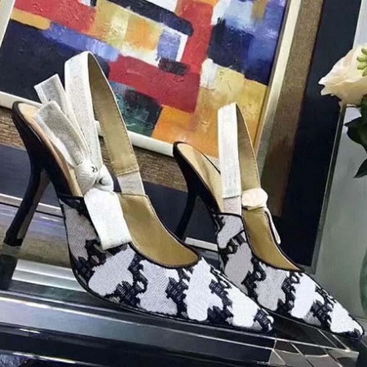 Горячая распродажа - письмо лук узла высокий каблук обувь женщин взлетно-посадочная полоса заостренный носок туфли на каблуках женские гладские сандалии леди марка плоская обувь 16