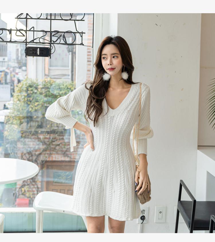 2021 Mode sirène blanche corée blanche femmes blanche vesticules vestidos printemps lanterne manche v-col v-cou robe élégante mini robes élastiques
