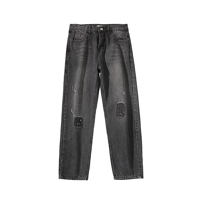 Summer 2021 Fashion teenagers loose men's trousers Korean style trendy jeans with holes in all-match straight harem pants