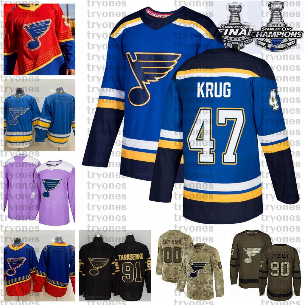 2021 Reverse Retro Anpassen 47 Torey Krug St. Louis Blues Champions Hockey Jersey Golden Edition Camo Veterans Day Figns Cancer Jersey