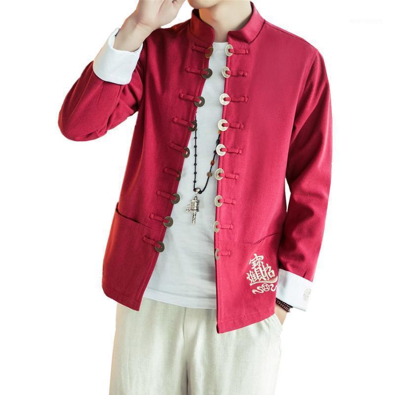 2020 Nuovi Giacche in lino in cotone a maniche lunghe da uomo Uomini Moda Uomini Aperto Punto Cappotti Cinese in stile retrò Giacca da colletto in stile retrò maschio1