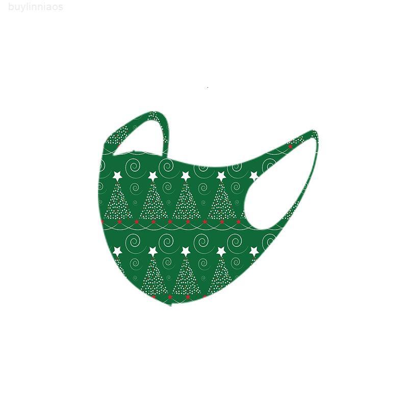Santa 2020 Christmas Fashion Claus Poeira à prova de poeira Elk de impressão de gelo máscara de seda para adultos miúdo máscaras de rosto Xmas