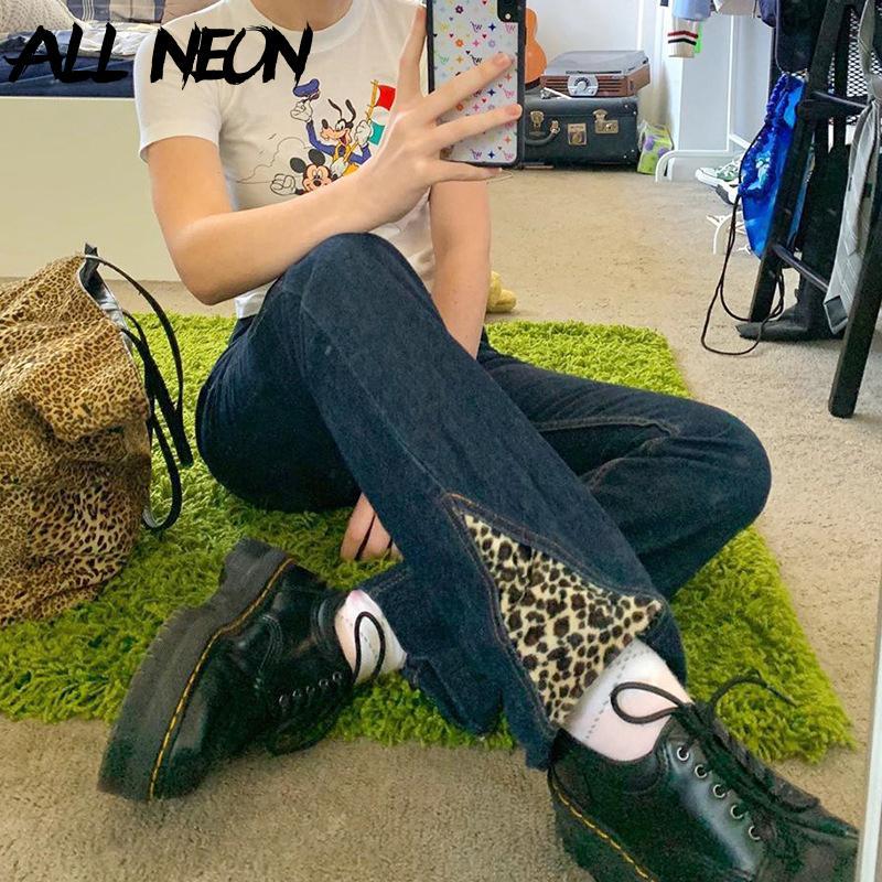 Allneon EGirl Урожай Лоскутная Leopard печати Тонкий Прямые джинсы Y2k моды высокой талией Длинные брюки Стиль Punk джинсовые брюки