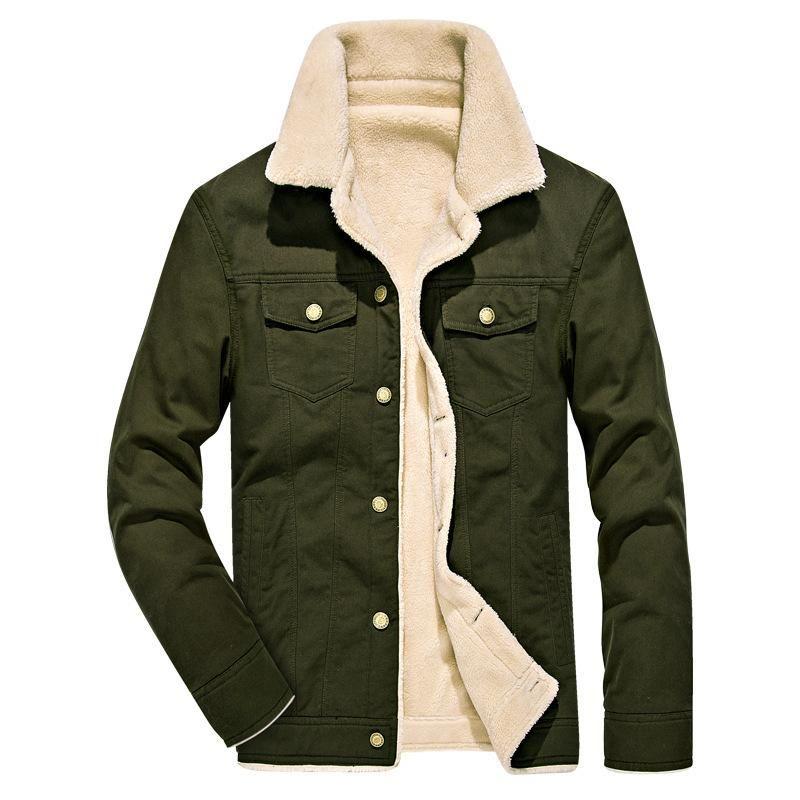 Men's Jackets 2021 Winter Mens And Coats Fleece Fur Long Coat Warm Streetwear Men Khaki Black 4XL Windbreakers Clothes