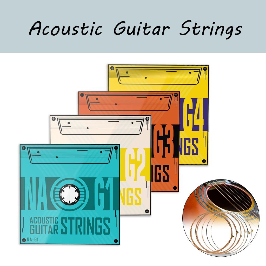 نعومي 1 مجموعة من 4 حزم سداسية الصلب الأساسية الفوسفور البرونزية الدقة عرافة الأساسية سلاسل الغيتار الصوتية أجزاء استبدال الغيتار