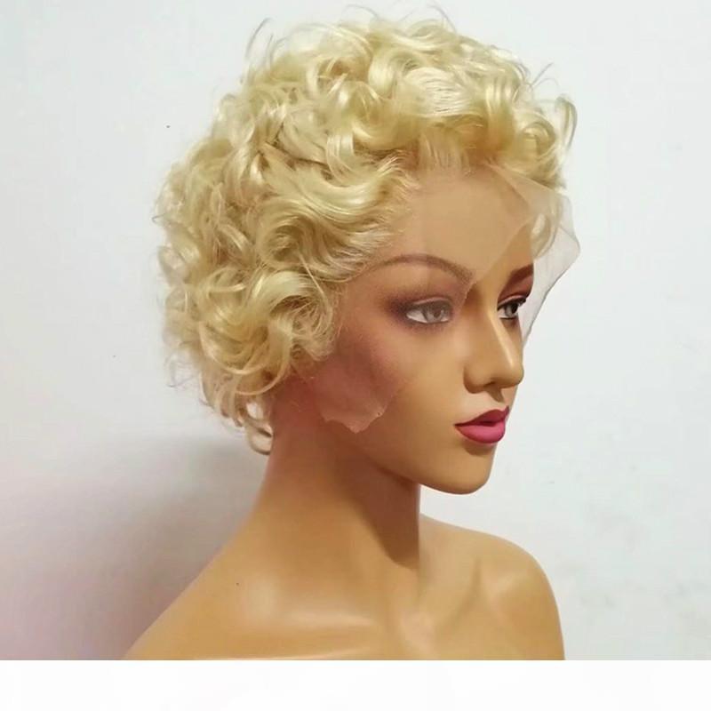 180 densità 613 parrucca piena pizzo riccia bionda parrucca corta parrucche di pizzo parrucche anteriori umane parrucche per capelli per le donne nere capelli vergini trasparenti in pizzo