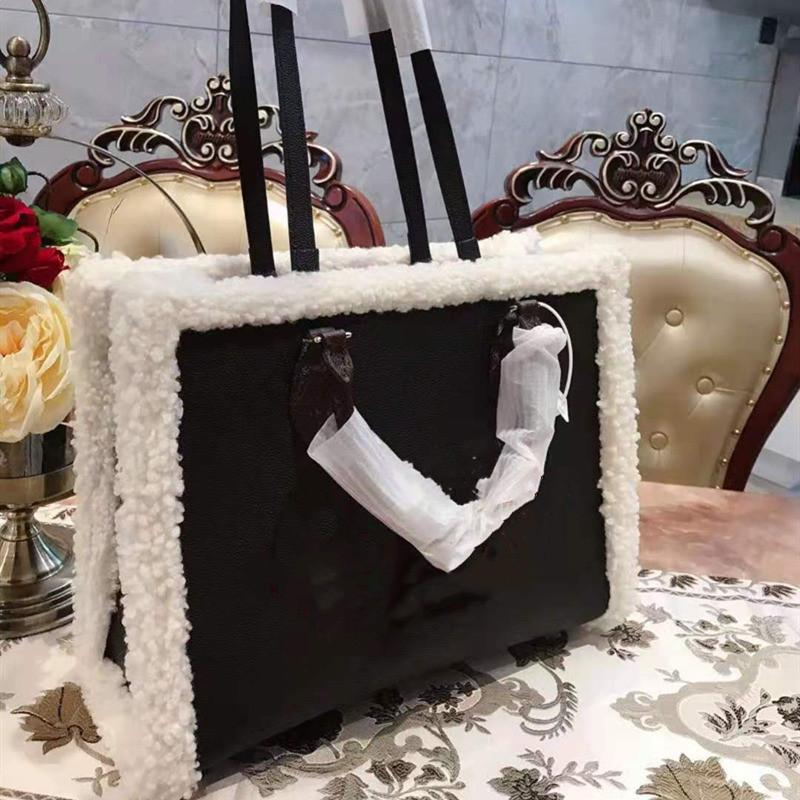 Grande Couro Original Alto Ombro Bolsa de Qualidade de Qualidade Shopping Totes Lã Genuine Capacidade Inverno Mulheres Carta Sacos Fashion Bag Aesii